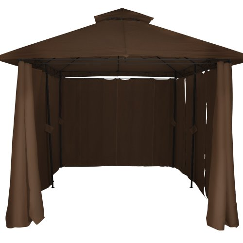 Miadomodo® Garden Pavilion Gazebo Marquee Party Tent Awning 400 x 300 x 280 cm Selection of Colours Available – Beige/Brown