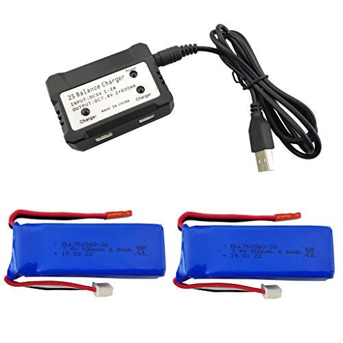 Fytoo 2PCS 7.4V 900mAh Batteria al Litio e 2 in 1 Caricabatterie per XK X520 XK X420 6 canali...