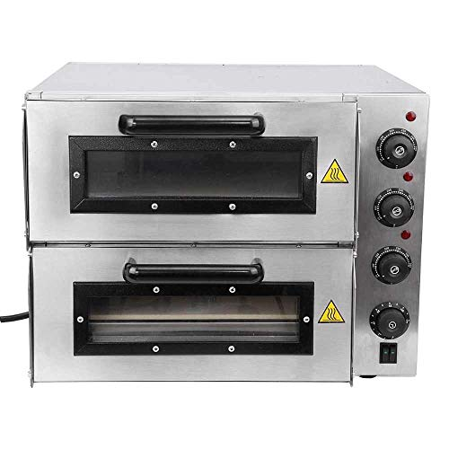 SMARTKART Bhavya store Commercial Double Deck Stone Based Pizza Oven (Silver, 16x16 inch)