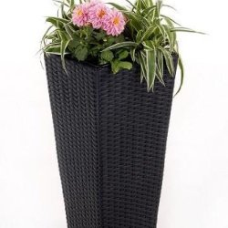 """floristikvergleich.de Blumenkübel Pflanzkübel Pflanzgefäße Übertöpfe Blumentöpfe aus Polyrattan """"Classic """" 60cm schwarz"""
