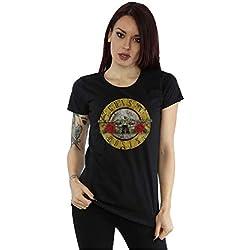 Guns N Roses mujer Vintage Bullet Logo Camiseta X-Large Negro