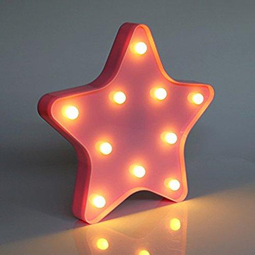 3D Cute Star Nachtlichter - LED Star Wandleuchten Kinderzimmer Dekor Batteriebetriebene Rosa Marquee Lichter Nachttisch und Tischlampen Dekoration
