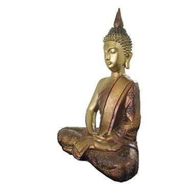 Figura buda iluminado de resina en color dorado y marrón   Tamaño: 29x13x40 cm   Portes gratis 5