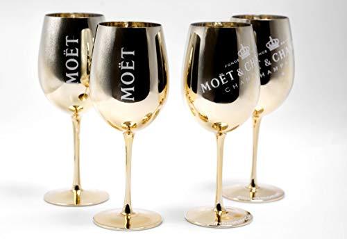Moet Chandon Ice Imperial Champagne Limited Ibiza Edition, set di 4 bicchieri da champagne, oro / rosa / blu / bianco