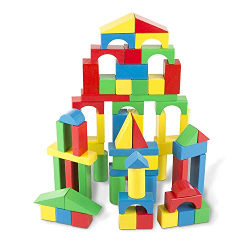 Melissa & Doug Wooden Building Blocks Set (Developmental Toy, 100 Blocks in 4 colours and 9 Shapes, Building toys for kids, list of building toys, construction toys, STEM toys for babies, STEM toys for toddlers, STEM toys for pre-schoolers)
