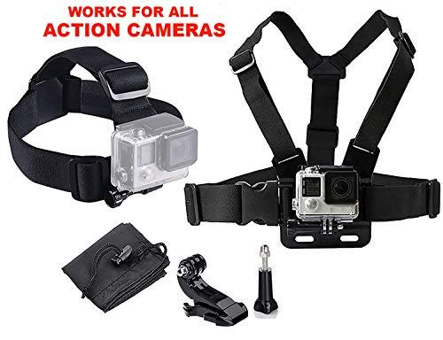 LONDON FAB Compatibile con GoPro e Tutte Le Action Cam, Imbracatura Action Camera (Imbracatura pettorale + Imbracatura per la Testa)