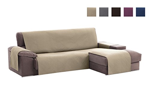 Textilhome - Copridivano Salvadivano Chaise Longe Adele - Color Beige -BRACCIOLO Destro - Protezione...