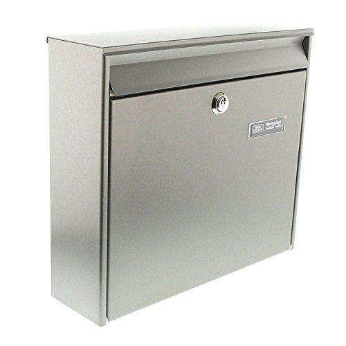 BURG-WÄCHTER Edelstahl-Briefkasten mit Öffnungsstopp, A4 Einwurf-Format, EU Norm EN 13724, Borkum 3877 Ni, Edelstahl