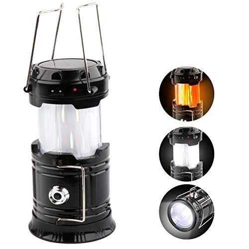 Solar LED Campinglampe, 3 IN 1 LED Camping Laterne Mit Flamme Lampe Funktion Super hell Taschenlampe Ideal für Camping, Outdoor, Wandern, Angeln, Abenteuer, Notfälle (Schwarz)