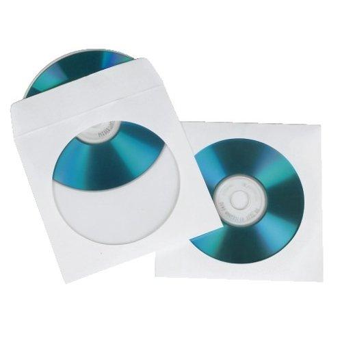 Hama CD-/DVD-/Blu-ray Papierhüllen (mit transparentem Sichtfenster, verschließbar) 100er-Pack, weiß