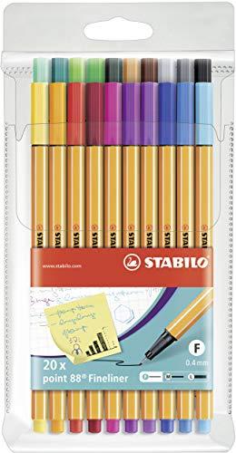 Fineliner - STABILO point 88 - Astuccio da 20 - Colori assortiti