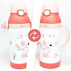 Rachna's Interchangeable Food Grade Stainless Steel Thermos Flask Silicone Straw Peppa Pig Baby Feeding Sipper + Water Bottle - 6641 - Pink - 350ML (12 Hours Hot-Cold Temperature Maintenance Guaranteed)