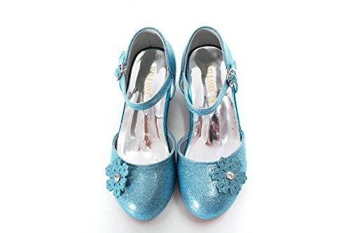 ELSA & ANNA Ragazze Buona qualità Ultimo Design Principessa Regina delle Nevi Gelatina Partito Scarpe Sandali BLU11-SH (BLU11-SH, Euro 29-Lunghezza 19.4cm)