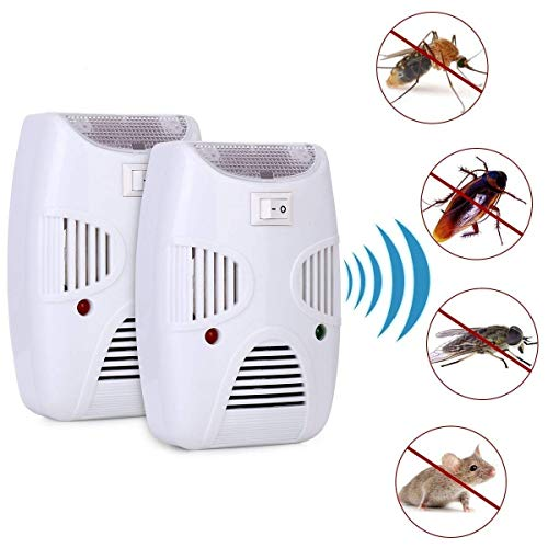 Mangukiya tac fab Ultrasonic Pest Repeller, Electronic Indoor Home Pest Control Repellent Device, Pest Reject Machine for Rats Mice Ants Roaches Mosquitoes Insects Flea Spiders (White)