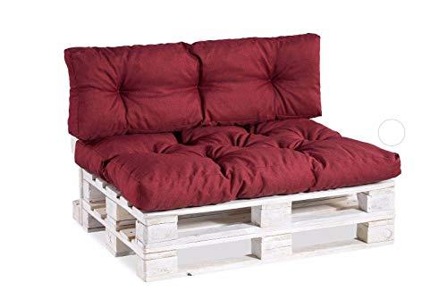 Cuscino per bancale, Cuscini per Pallet Divani, Seduta, Schienale,Trapuntato PP (Seduta 120x60, Bordeaux)