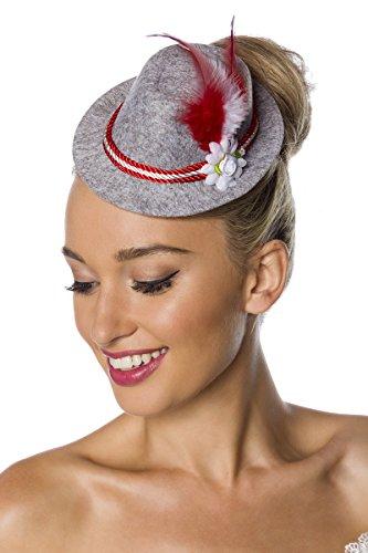 Grau Roter Damen Minihut Filzhut Trachtenhut mit Kordel Blumen und Federn Oktoberfest Verkleidung Fascinator