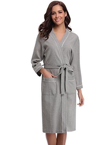 Aibrou Damen Baumwolle Sommer Bademantel Leicht Mantel Morgenmantel V Kragen Waffel Typ Saunamantel Frottee grau XL