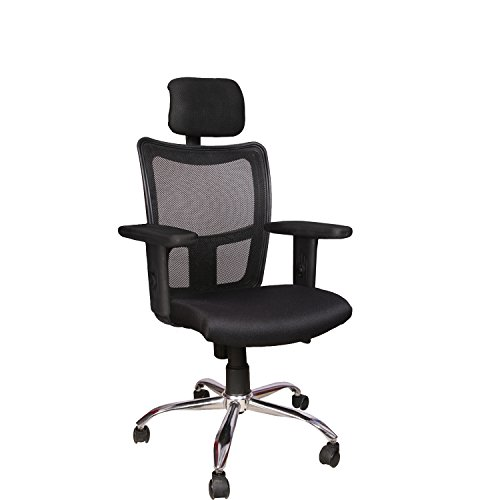 Rajpura Brio High Back Revolving Chair with Headrest and Push Back Mechanism in Black Fabric and mesh/net Back Office Executive Chair
