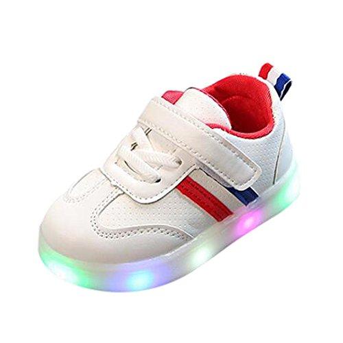 Bambino Unisex-LED Scarpe High-Top Lampeggiante Luminosi Sneakers Sportivet-LED con Luci Bright Light Bambino Bambini Ragazzi Ragazze -A Strisce Scarpe da Ginnastica Basse Unisex 20-29 (Rosso, EU:24)