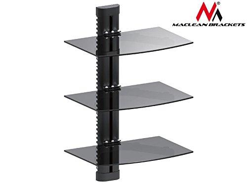 Maclean MC 664mensola mensola di vetro 8kg supporto da parete per DVD Player Mediaplayer Game...