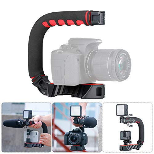 ULANZI U-Grip Pro Video Handheld Rig Steadicam Triple Cold Shoe compatibile per iPhone XS XR XS Max 8 7plus GoPro 7 6 5 Canon Nikon DSLR Telecamere Treppiedi
