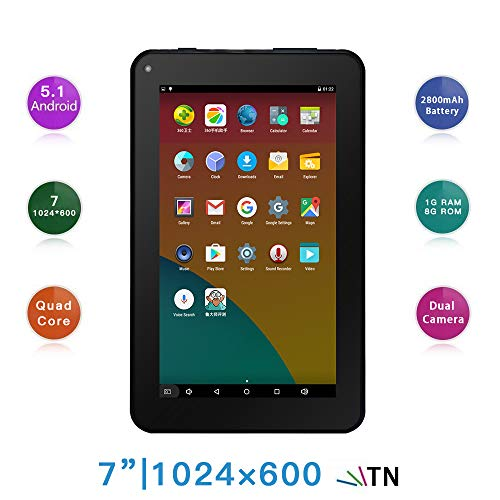 Haehne 7 Pollici Tablet PC - Google Android 5.1 Quad Core, 1GB RAM 8GB ROM, Doppia Fotocamera...