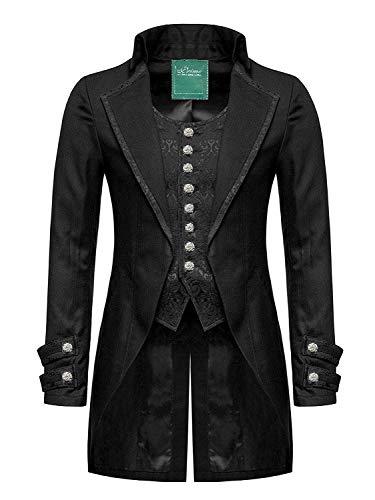 Star Leather 100% Cotone Mens Gotico da Giorno Giacca Frac Nero Steampunk Vittoriano Matrimonio/Feste - Nero, Medium