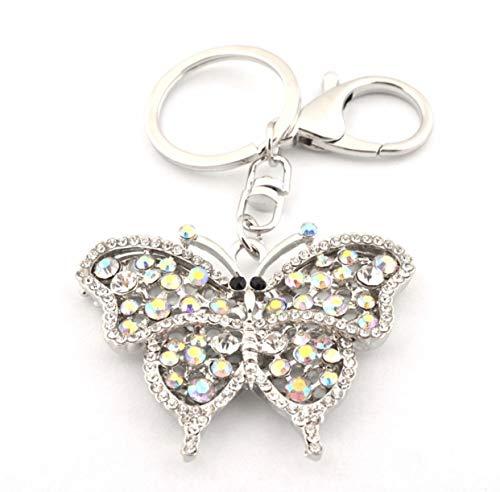 quadiva Bag Charm mariposa Funda colgante para mujer (Color: Plata) con cristales y perlas