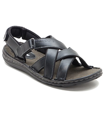 Red Tape Men's Black Leather Sandals and Floaters - 8 UK/India (42 EU)