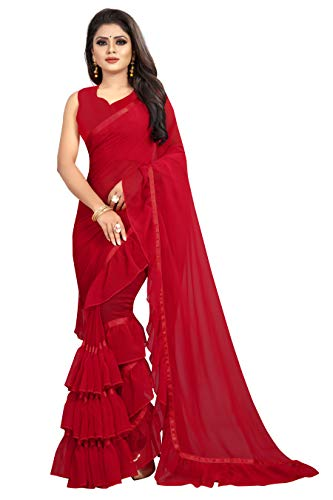 Market Magic World Women's Georgette Ruffle Saree with Blouse Piece (Red)