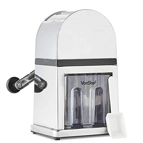 VonShef Broyeur à Glace/Machine à Glace pilée Manuelle avec bac à glaçons et 1 cuillère - capacité : 900ml