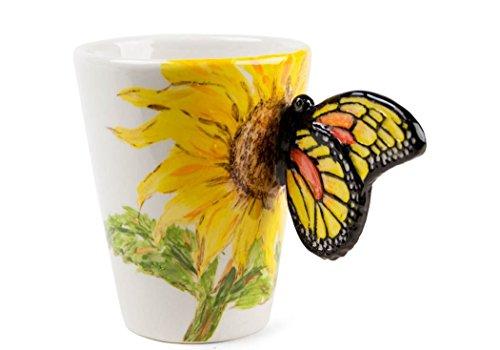 Mariposa Taza de Café Hecho a Mano 8oz Flor amarilla (10cm x 8cm)