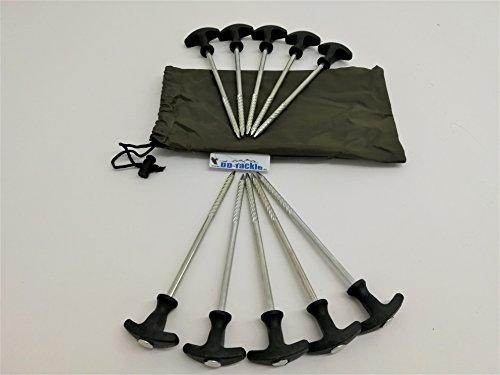 DD-Tackle 10 Stück Bivvy T - Pegs inkl. Tasche 21cm Zeltheringe Heringe Zeltnägel Erdnägel …