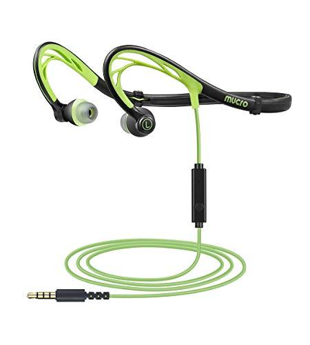 MUCRO-Auriculares-Deportivos-Plegables-Auriculares-estreo-para-Correr-micrfono-Integrado-para-Entrenamiento-cancelacin-de-Ruido-diseo-de-Banda-para-el-Cuello-Color-Verde