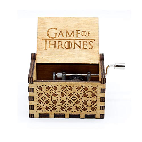 Windup Game of Thrones Theme Wooden Music Box - GOT - in Gift Jute Pouch - Antique Curved Hand Crank
