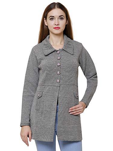 Matelco Women's Woollen Buttoned with Pockets Coat (Grey, Medium)