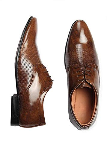 Shozie Men's Patent Leather Formal Shoes Formal Shoes (9, Brown)