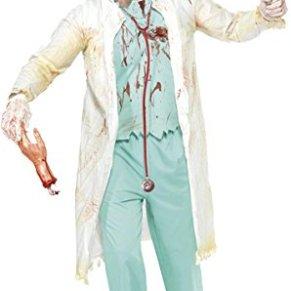 Smiffys- Halloween Disfraz de médico Zombi, Verde, con Bata con Parte de Arriba incorporada, Pantal, Color, L - Tamaño…
