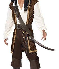 Smiffy'S 26224M Disfraz De Pirata De Alta Mar Con Top, Pantalones Cortos, Tahalí Cinturón Y Pañoleta Para La Cabeza, Marrón, M - Tamaño 38