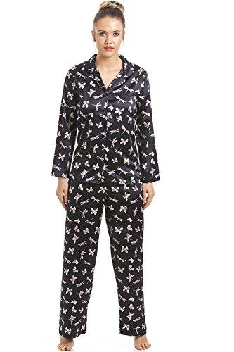 Camille - Conjunto de Pijama Satinado - Negro con Estampado de Mariposas 42