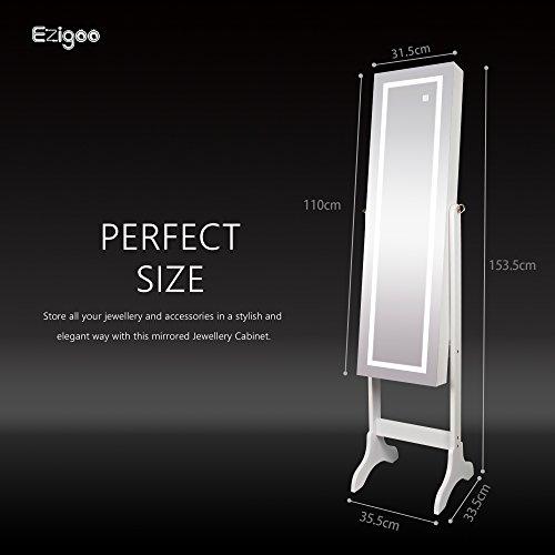 Ezigoo Spiegel Schmuckschrank Beleuchtet mit Touchscreen LED Licht - Schmuckregal mit Ganzkörperspiegel - 3