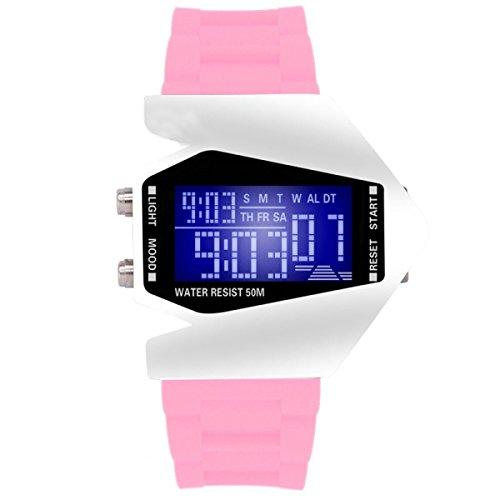 DFIHCD Männer Doppelzeit Digitale Sportuhr Dünne Große Gesichtsplatte LED Outdoor Elektronische Uhr Wasserdichte Mode Lässig Stoppuhr,Pink