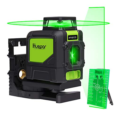 Huepar 901CG 1 x 360 Kreuzlinienlaser Grün, 360 Grad Linienlaser Selbstnivellierenden Laser Level mit Pulsfunktion, Umschaltbar 360° Horizontaler Linie, 25m Arbeitsbereich, inkl. Magnetische Halterung