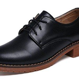 Amitafo Ladies Classic Lace up Leather Brogue Shoes Girls' School Uniform Dress Oxfords Black Brown Beige Size 2.5-6.5 41Kxyed5idL