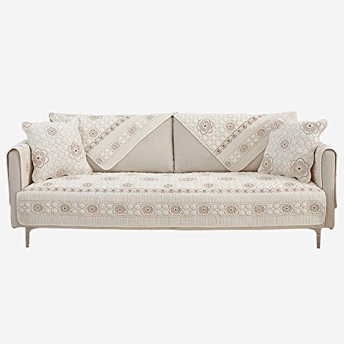2/3/4 posti fodera divano,Divano in tessuto di cotone Fodera sfoderabile, copridivano ricamati, cuscino del divano reversibile, coprisedili protettivi , federa per bambini beige-beige 45 * 45 cm fe