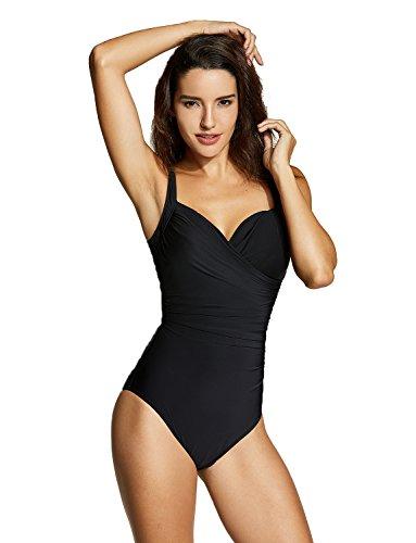 Delimira Damen Einteiler Bademode - Schlankheits Badeanzug Mit Bügel Schwarz 40