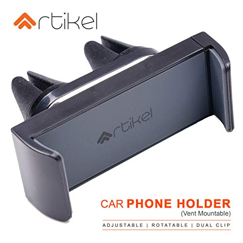 Artikel Universal Car Phone Holder | Air Vent Mount | 360° Rotatable | Compatible with All Mobile Phones | Simple Functional & Elegant Design | Dual Clips for Extra Grip on Rough Roads | Grey