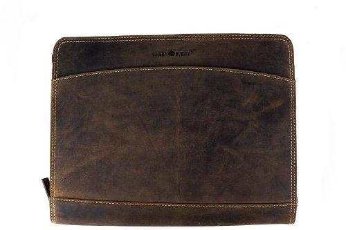 GREENBURRY Vintage Manager Schreibmappe echt Leder A4 braun ..., Braun, 33 x 27 x 3 cm
