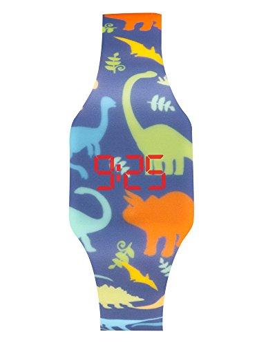 Orologio a LED digitale per ragazzi, bambini e giovani, da polso, cinturino in morbido silicone, regalo trendy (DINOS)