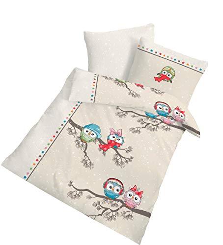 """'Franela bebé niños ropa de cama """"Cool Owl Invierno Diversión búho & Estrellas de colores en la arena, Beige–Tamaño 40x 60+ 100x 135cm–Fabricado en Alemania"""